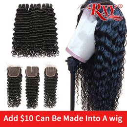 Lace front cLosure brown online shopping - deep wave bundles with closure Can be processed into a wig lace wigs curly human hair lace front wig