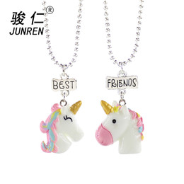 412125c95e NEW Design 2Pcs Set Unicorn Pendant Necklaces For Children Boys and girls  Best Friends Friendship Necklace Chain Jewelry