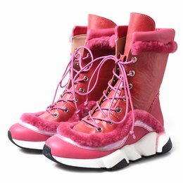 Boots Warm Up Australia - new arrival women snow boots cow leather mixed wool fur warm winter shoes fashion round toe thick bottom martin boots lace up short boots