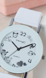 $enCountryForm.capitalKeyWord NZ - 2019 new Watches Student Belt White Popular Cartoon Cute Quartz Couple Watches for Men and Women Children Get up and Drink Water