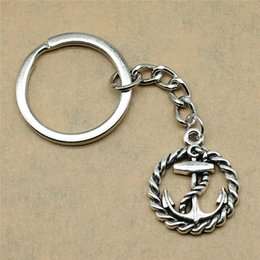 Silver Antiques Australia - 1 Piece Man Keychain Anchor Accessories Jewelry Gifts For Kids 26x21mm Pendant Antique Silver