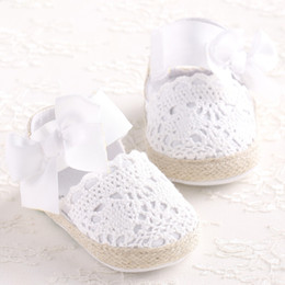 Wholesale Baby Girl Newborn Shoes Spring Summer Sweet Very Light Mary Jane Big Bow Knitted Dance Ballerina Dress Pram Crib Shoe