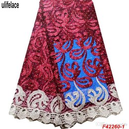 Cheap Fabric Wholesalers Australia - Cheap price 2019 African Lace Fabric Embroidered French Tulle Lace Fabric High Quality Nigerian Laces Fabric With Stone F4-2260