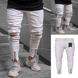 215d248f47 2019 Hi-Street Men Knee Ripped Hole Men White Jeans Streetwear Skateboard  Straight Pants Man Hip Hop Ankle Zipper Jeans