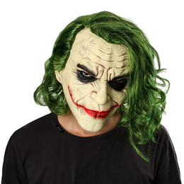 knight hair Canada - Hot Movie Joker Mask Movie Batman The Dark Knight Cosplay Horror Scary Clown Mask with Green Hair Wig Halloween Latex Mask Party Costume