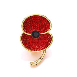 China Red Rhinestone Crystal Diamante Sparkly Poppy Flower Pin Brooch UK Badge suppliers
