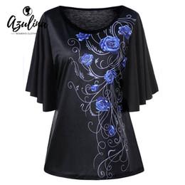 Plus Size Batwing Printed Shirt Australia - Rosegal Plus Size Tiny Floral Print Batwing Sleeve T-shirt Women Casual Black T Shirt Ladies Tops 2018 New Big Size 5xl T-shirts Y19060601