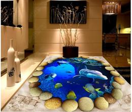 Round Stickers Roll Australia - Customized 3D photo mural wallpaper pvc self-adhesive waterproof flooring wall sticker Round cobblestone underwater world 3D bathroom floor