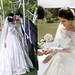 $enCountryForm.capitalKeyWord NZ - Timeless Lace Appliques Princess Wedding Dress 2019 Long Sleeve Illusion Bodice Off Shoulder Floor-Length White WeddingGowns