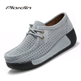 Leather cutout shoes online shopping - Plardin New Woman Casual Shoes Women Cutouts Breathable Flats Shoes Suede Leather Cutout Platform Flats Shoes Woman Ladies