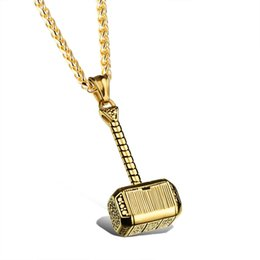 Thor Hammer Pendants Wholesale NZ - Gold Silver Thor Hammer Pendant Necklace - Men's Titanium Stainless Steel Charms Necklaces Hiphop Jewelry Party Rock Gift