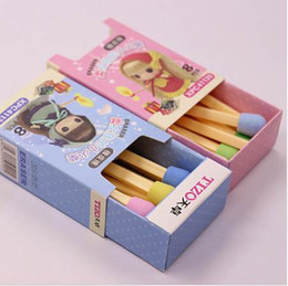 $enCountryForm.capitalKeyWord NZ - 8 PCS pack Cute Kawaii Matches Eraser Lovely Colored Eraser for Kids Students Kids Creative Item Gift Free shipping