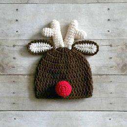b93cbc5d95b87 Baby Reindeer Hat Australia - Handmade Knit Crochet Reindeer Hat