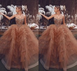 Wholesale black fashion tops images online – design Bling Top Sequined A Line Champagne Evening Dresses Sweetheart Neck Sexy Tulle Long Ruffles Prom Gowns Special Occasion Gowns