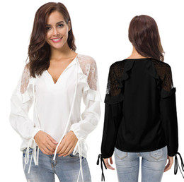 blouse neck new designs 2019 - Fashion Designer Design New Lace Chiffon T Shirt Sexy Rope Bow Bottoming Shirt Light Luxury Womens Blouses Loose Popular