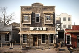Discount portrait photography backdrop - Laeacco Saloon Old Wooden House West Cowboy USA Street Baby Portrait Photo Backgrounds Photography Backdrops For Photo S