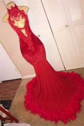 Silver Black Red Australia - Sexy Red Feather Mermaid 2K18 Prom Dresses 2019 Backless Halter Vintage Lace Plus Size Black Girls African Arabic Formal Evening Party Gowns