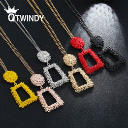 $enCountryForm.capitalKeyWord Australia - QTWINDY Big Heavy Metal Geometric Necklace For Women Fashion Gold Silver black red chain choker boucle d'oreille femme 2019