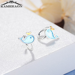 $enCountryForm.capitalKeyWord NZ - Small Whale Ear Clips Piercing Snag Women Earrings Without Puncture Ear-Cuffs Blue Brushed Earring For Cartilage Jewelry Korean