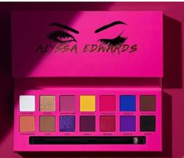 Popular Eyeshadow Australia - Popular Eye Makeup Alyssa Edwards Rose Red Eye Shadow Palette 14 Colors Matte Pressed Eyeshadow Palette with makeup brush