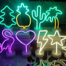 pineapple table lamps 2019 - Holiday Lighting Neon Heart Night Light USB Pineapple Cactus Star Moon Christmas Tree Decorations LED Creative Kawaii Ta