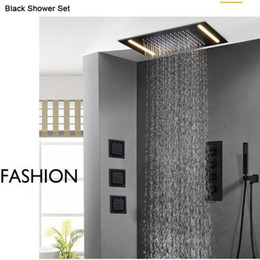 "$enCountryForm.capitalKeyWord NZ - Concealed Thermostatic Shower Set Celing Mount Led Shower with 4"" SPA Message Mixer Shower Faucet Matte Black"