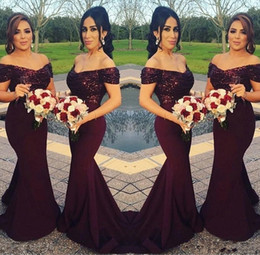 Lavender Blush Wedding Dress Australia - Sparkly Burgundy Sequined Mermaid Bridesmaid Dresses 2019 Off the Shoulder Best Wedding Party Dresses Blush Pink Maid of Honor Gowns