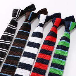$enCountryForm.capitalKeyWord NZ - Fashion Mens Knit Ties Colorful New Narrow Width Knitted Skinny Neckties For Party Wedding Male Neckwear Tie Cravat