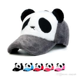 b520251c41c 2018 New fashion Plush Man and weman Winter Keep warm cartoon panda  baseball cap Outdoor walks caps hat wholesale