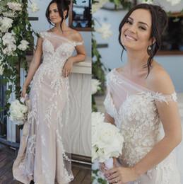 2020 Sheath Lace Wedding Dresses Sheer Neck Bridal Gowns Trumpet Appliques Plus Size Vestido De Novia robes de mariée on Sale