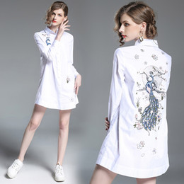 Peacocks Dresses White Australia - New 2019 Spring Retro Peacock Flower Embroidery Dress Women Long Sleeve Button Down Straight Mini Dress Cotton White Shirt