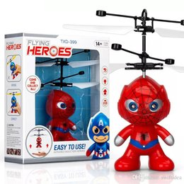 wholesale toys helicopter NZ - drone rc helicopters christmas kids toys with spiderman superman batman minions sytle flying LED toy for Children