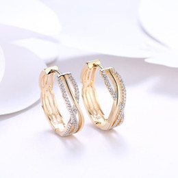 18k white gold hoop earrings NZ - Hotyou Fashion Circle Earing for Women 18k Gold Platinum Plated Hoop Earring White Crystal CZ Small Jewelry Women Engagement Earring Gift