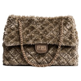 Discount winter cotton women handbag - 2018 Winter Women Bag Designer Faux Rabbit Fur Large Capacity Shoulder Bags Brand Female Plaid Chain Handbags Ladies Tot