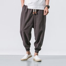 Wholesale harlem pants for sale – dress M XL New Chinese Asbestos Men s Pants Loose and Large Size Harlem Lantern Pants Flax Nine cent Radish