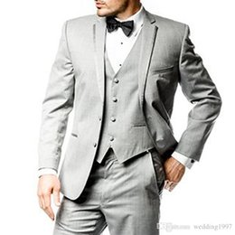 Three Piece Suit Styles Australia - Gray Business Men Suits 2018 Classic Style Three Piece Notched Lapel Custom Made Grey Wedding Groom Tuxedos (Jacket + Pants + Vest)