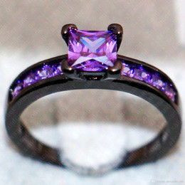 Black Gold Filled NZ - Fashion Engagement Wedding Ring Set 10KT Black Gold Filled with inlay squaer Purple Simulated diamond CZ Ring Girl
