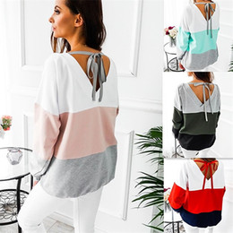 Jacket removable sleeves online shopping - Splicing Sweater Round Collar Jacket Color Collision Clothing Ladies Long Sleeves Back Hollowing Out Bandage xx f1