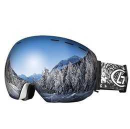 Double ski goggles online shopping - Ski goggles double anti fog large spherical adult all mountaineering windproof anti fog ski glasses can be equipped with myopia glasses