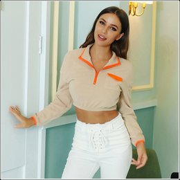 Wholesale ski fleece tops resale online – Women Autumn Winter Fleece Softshell Jacket Zipper Crop Tops Outdoor Sports Tectop Coats Hiking Camping Skiing Trekking Jackets