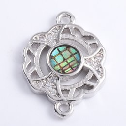 $enCountryForm.capitalKeyWord Australia - Singreal Abalone Shell Micro Pave Flower Charms Bracelet necklace Choker Pendant connectors for women DIY Jewelry making