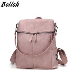 Styles Backpacks Australia - Bolish Simple Style Backpack Women PU Leather Backpacks For Teenage Girls School Bags Fashion Vintage Female Backpack