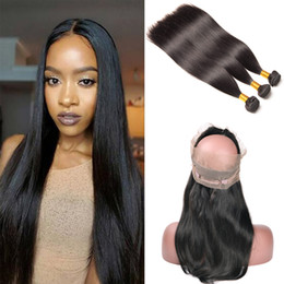 Remy fRont lace closuRe online shopping - 360 Lace Frontal With Bundle Raw Indian Straight Hair Bundles With Frontal Closure Human Hair Front With Bundles Remy Hair Extension Beyo
