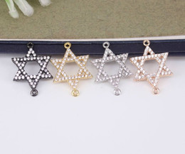 Micro Pave Connectors Australia - 10pcs Metal Copper Micro Pave CZ Star connector Beads,Cubic Zirconia beads For Jewelry Making