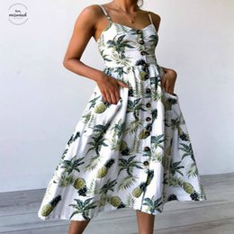 Loose Long Linen dress online shopping - Strap Summer Print Floral Boho Bohemian Beach Dress Women Sundress Sexy Casual Loose Robe Long Linen Femme Maxi Dresses Clothes