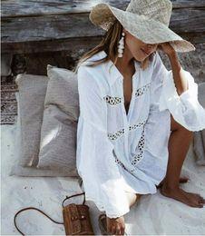 $enCountryForm.capitalKeyWord Australia - Bikini Cover Up Lace Hollow Crochet Swimsuit Beach Dress Women 2019 Summer Ladies Cover-Ups Bathing Suit Beach Wear Tunic