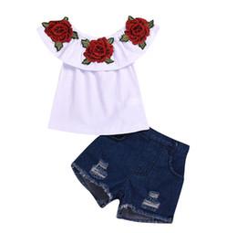 $enCountryForm.capitalKeyWord Australia - Kids Baby Girls 3D Flower Ruffles Sleeve T shirt Tops & kids Denim Jeans Shorts Hot Girls Summer Outfits Clothes Set