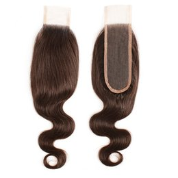 indian chocolate human hair UK - 2x6 Lace Closure Chocolate Brown #2 #4 Brazilian Remy Human Hair Peruvian Indian Malaysian Body Wave 8-20 Inch Remy Hair Extension