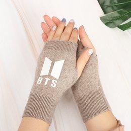 Glove Accessories Australia - 1Pair BTS Bangtan Boys Knitted Gloves Winter Warm Half Finger Gloves Windproof Knitted Fashion Accessories for Women
