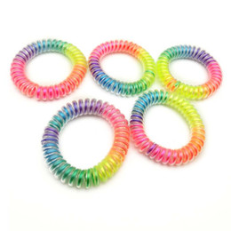 5.5cm Shiny RainBow Telephone Hair Cord Ponies Elastic Soft Flexible Plastic Spiral Coil Wrist Bands Girls Hair Accessories Rubber Ties from gold crown for bride manufacturers